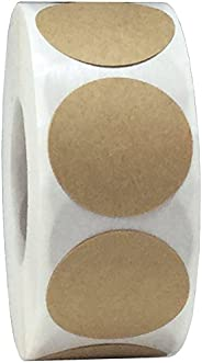 Brown Natural Kraft Circle Stickers, 25 mm 1 Inch Dot Labels 500 Pack