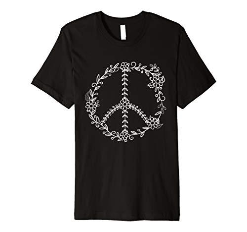 Blumen und Blätter Friedenszeichen-T-Shirt - Retro Blumen-B