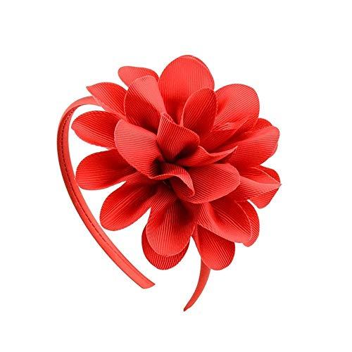 Kfang-headbands Kangfang, 2019 Grosgrain Ribbon Big Flowers Hairband Princess para niños Accesorios para el Cabello Banda para el Cabello de plástico Niñas Diadema Headwear con la Flor (Color : Red)