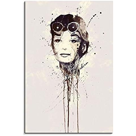 Audrey Hepburn IV _ 90x 60cm bastidor imagen de imagen acuarela Art–cuadro sobre lienzo enmarcado Original Paul Sinus Art único