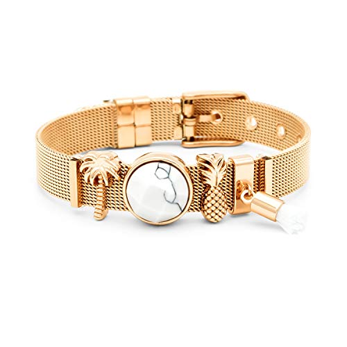 THIORA® - Mesh Armband Damen   Individuelle Anhänger Charms   Edelstahl   Charmband Set Frauen   Silber Rosegold Gold Bracelet (Marbleous - Gold)