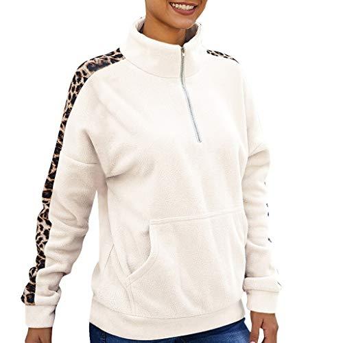 GOKOMO Damen Winter Langarm Nähte Leopard Reißverschluss Bluse Rollkragen Sweatshirt(Weiß,Large) (Assassin's Creed Moderne Assassine Kostüm)
