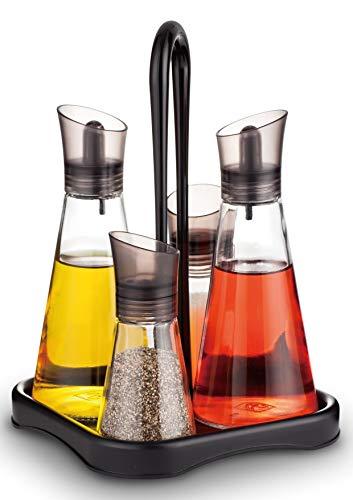 A|M|I|N|A Menage Set Essig und Öl - 5 teilig | 2 x 250 ml Ölflasche + 2 x 80 ml Salz- und Pfefferstreuer & Untersetzer