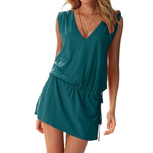 Minetome Femmes d'été V profond Robe De Plage Halter Neck en coton Combishort Vert