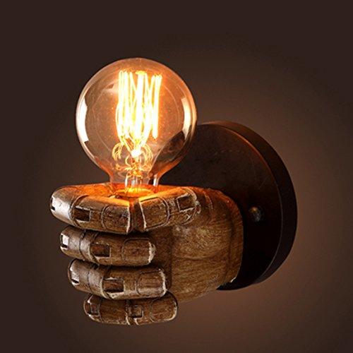 Brinny Hand Style E27 Classique en Bois Poing Applique Murale Industrielle Lampe Murale Vintage