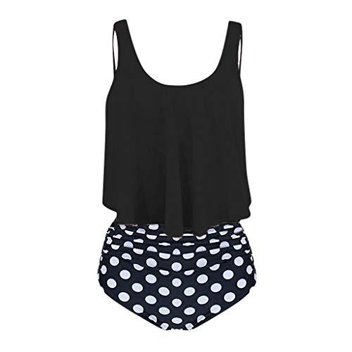 ESAILQ Frau Zwei StüCk ÜBergrößE RüCkenfreies Halfter Dot Printed Swimwear Set