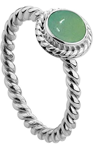 Nenalina - Damen Ring Silberring aus 925 Sterling Silber handgearbeitet besetzt mit grüner Achat Edelstein, Gr. 52 - 212999-097-52 (Grüne Edelstein-ring)