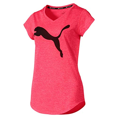 Cat Damen Rosa T-shirt (Puma Damen Heather Cat Tee T-Shirt, Pink Alert, L)