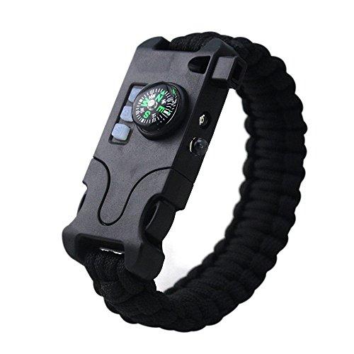 GITVIENAR Multifunktions Survival Bracelets Paracord Armband wiederaufladbare Outdoor Emergency Armband mit Taschenlampe, UV-Licht und Kompass