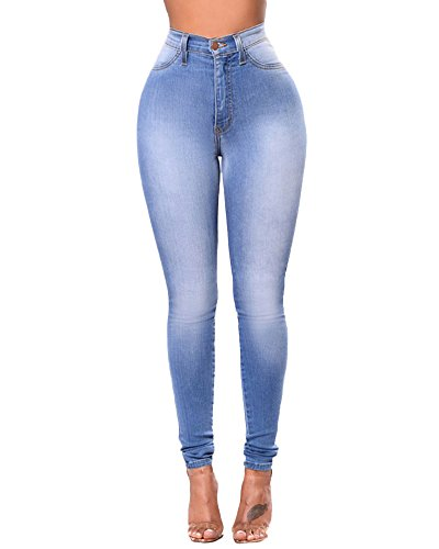 Donna Skinny Jeans Slim Elastico Vita Alta Washed Denim Pantaloni Leggings Matita Pantalone Blu