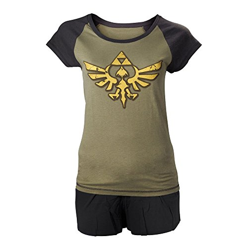 NINTENDO Legend of Zelda Oro Enlace Logo Shortama ropa de dormir Set (pequeño, verde militar / Negro)