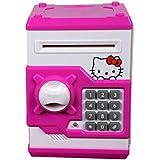 Bubble Hut Mini Electric Secret Password Safe ATM Piggy Bank Money Safe Deposit Box Toy (Hello Kitty)