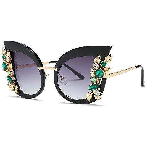 VRTUR Damen Sonnenbrille Brille Überbrille Gläser, Frauen Schick künstliche Diamant Katze Ohr...