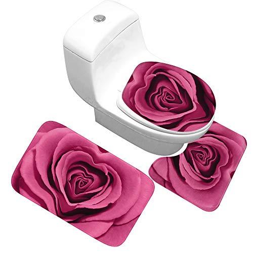 Tappeto A Palla Piccola-3Pz/set Tappetino da Bagno Set goffratura tappeti Cuscino WC coprisedile Tappetino da Bagno per la Decorazione Domestica 40x60CM