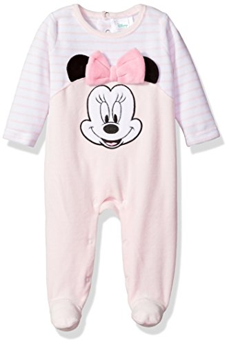 Footie Sleeper (Disney Baby Girls' Minnie Mouse Velour Footie Sleeper, Pink/White, 3-6 Months)