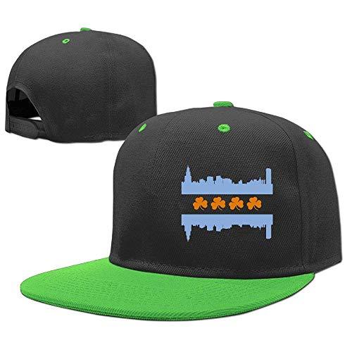 Irish Chicago Flagge (UUOnly Kinder verstellbare Hip Hop Baseballmütze Irish Chicago Skyline Flagge Baumwolle Sun Cap)