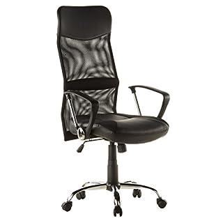 hjh OFFICE 668010 Netz Bürostuhl ARTON 20 Kunstleder Schwarz Home-Office Schreibtischstuhl mit Armlehnen ergonomisch