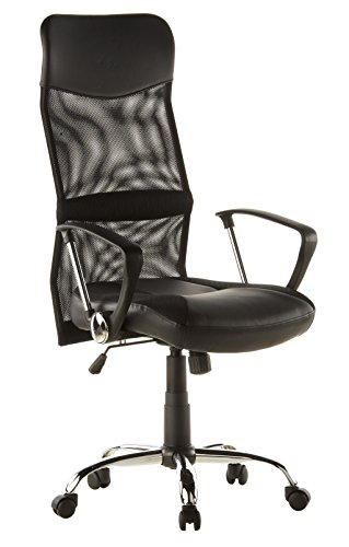 hjh OFFICE 668010 siège de direction, chaise de bureau ARTON 20 noir avec accoudoirs, dossier extra haut en tissu maille de qualité, respirant, assise en simili-cuir, piètement chromé, mécanisme de basculement