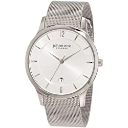 Johan Eric Hobro Men's Quartz Watch with Silver Dial Analogue Display and Silver Stainless Steel Bracelet JE2000-04-001