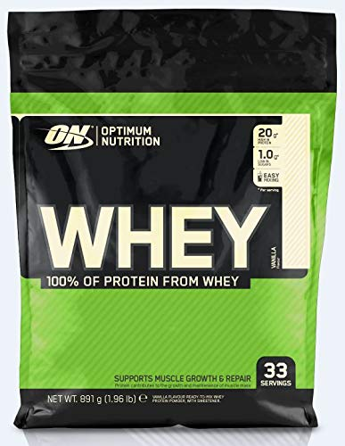 Optimum Nutrition ON Whey Eiweißpulver (Zuckerarmes Protein Shake von ON), Vanilla, 33 Portionen, 0.9kg