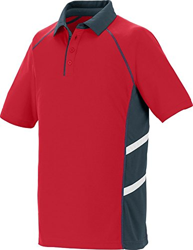 Adult Oblique Sport Shirt RED/ SLATE/ WHT M -