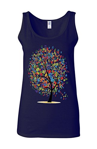 Lucky Number Tree Lottery Novelty White Femme Women Tricot de Corps Tank Top Vest Bleu Foncé