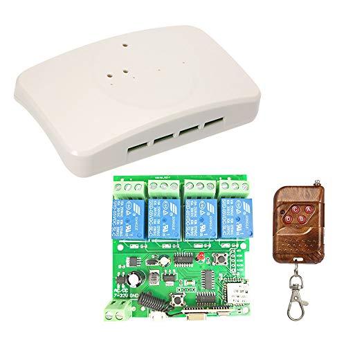 Festnight Sonoff Smart Wireless Fernbedienung Schalter, APP Fernbedienung DC 5V 12V 32V 4CH Wifi Switch Universal Modul Mit RF 433MHz Fernbedienung (Rf Mit Universal-fernbedienung)