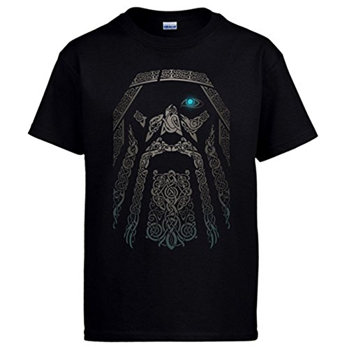 Diver Camisetas Camiseta Rostro del Dios Vikingo Odín Vikings - Negro, XL