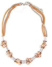 IGP Funky Three Layered Triple Tone Mesh Chain Fashion Necklace For Women And Girls