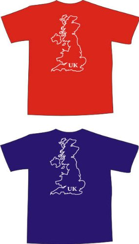 T-Shirt t147 Shirt with map United Kingdom mit map blue - frontprint