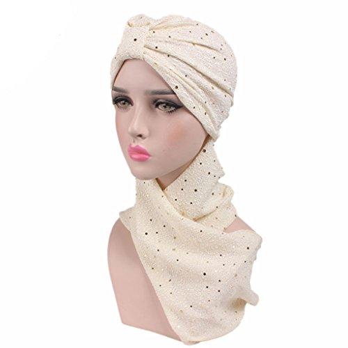 Haorw Frauen Neu muslimische Kopftuch Schal mit Paillette Indische Turban-Hüte Turbanmütze Kopfbedeckung (beige)