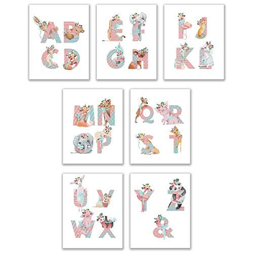Crystal Alphabet (Crystal Alphabet Baby Tiere Prints-Set von 7(8x 10) Liebenswürdig, Floral Kinderzimmer Wandtattoo Art Decor-Woodland-Safari-Farm-Oriental-Pets)