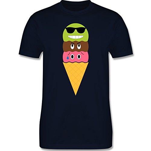 Lustige Sprüche und Motive - Eiswaffel mit Smileys - L190 - Premium Männer Herren T-Shirt mit Rundhalsausschnitt Navy Blau