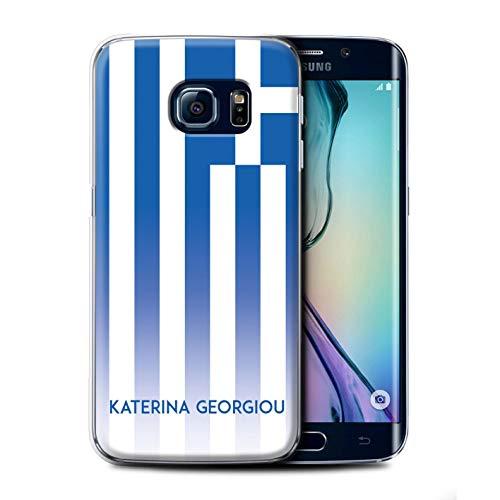 eSwish Personalisiert Individuell National Nation Flagge 3 Hülle für Samsung Galaxy S6 Edge/Griechenland/Griechisch Design/Initiale/Name/Text Schutzhülle/Case/Etui -