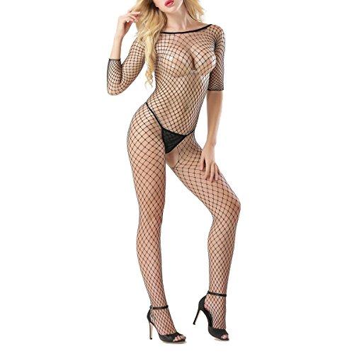 ADESUGATA Sexy Fischnetz Dessous,Damen Charme Perspektive Open Crotch Body Nachtwäsche Versuchung Nightgown Slim fit elastisch Unterwäsche Overall