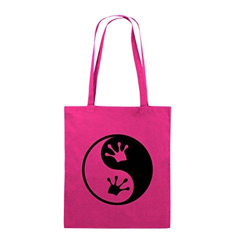 Comedy Bags - YIN YANG - FROSCH - Jutebeutel - lange Henkel - 38x42cm - Farbe: Schwarz / Pink Pink / Schwarz