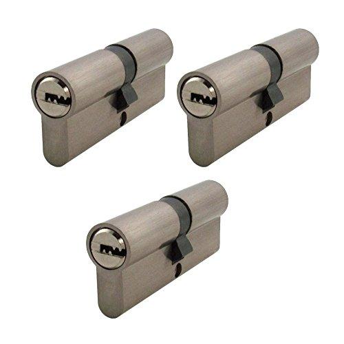 3 x Zylinderschloss gleichschließend 80 mm mit jeweils 5 Schlüssel für jedes Schloss 40x40mm