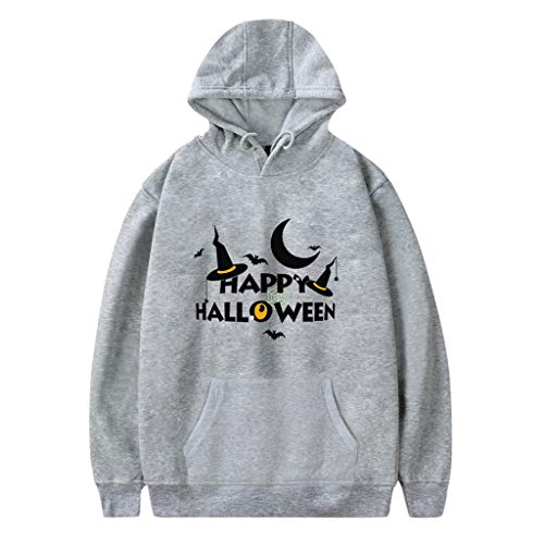Kostüm 70's Motto Paare - Xmiral Kapuzenpullover Herren Damen Happy Halloween Buchstabe Gedruckte Paare Sweatshirt mit Kapuze Hoodie Pullover Party Langarmshirt Kostüm(c Grau,XS)
