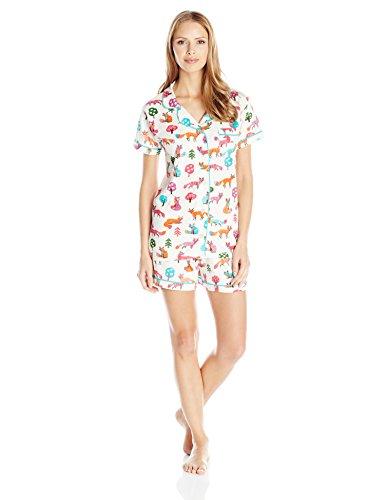Hatley Damen Zweiteiliger Schlafanzug LBH Ladies PJ Top & Shorts - Party Fox Weiß - Weiß