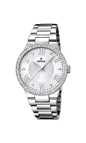 Festina Women's Quartz Watch with White Dial Analogue Display and Silver Stainless Steel Bracelet F16719/1