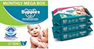 Supples Baby Diaper Pants, Monthly Mega-Box, Large, 124 Count & Supples Baby Wet Wipes with Aloe Vera and
