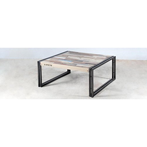 PierImport Table Basse carrée Bois recyclé 80x80 CARAVELLE