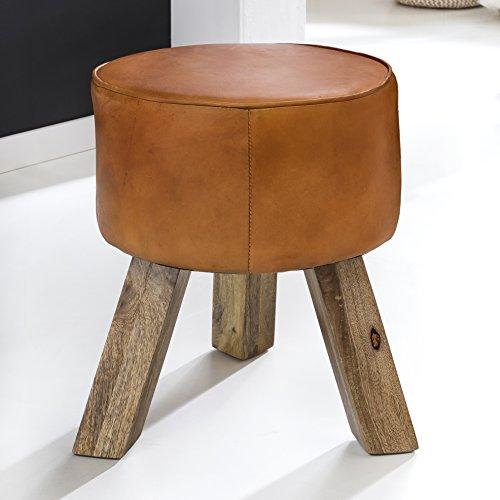 FineBuy Design Sitzhocker FB45553 Holz 37x45x37 cm Modern Fußhocker Rund | Turnbock Lederhocker Holzbeine | Kleiner Hocker Massivholz mit Leder Gepolstert | Holzhocker mit Echtleder Braun