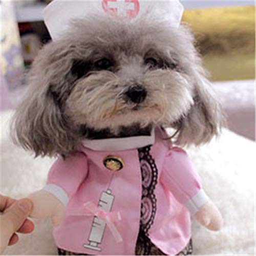 Feidaeu Funny Dog Clothes Cool Pet Dog Kostüm Suit Welpenkleidung für Dog Outfit Nurse Pet Suit Mantel