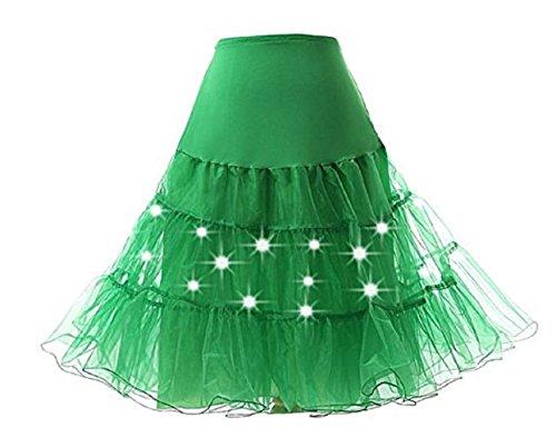 Damen Vintage Party Rock mit LED-Licht Tüll Petticoat Underskirt Tutu in Mehreren Farben M L XL (L, Grün)