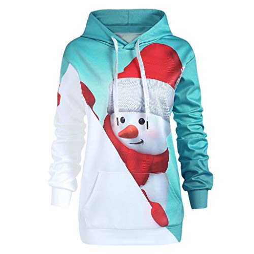 fdm hoodie Berimaterry Damen Hoodie Weihnachten Känguru Tasche Cartoon Schneemann Print Sweatshirt Langarmshirt Tops Kapuzenpullover