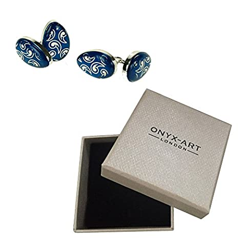 Mens Executive Cufflinks Blue Oval Chain Link By Onyx Art