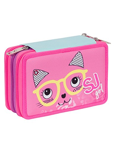 Seven SJ Animals – Estuche escolar con 3 compartimentos para rotuladores, lápices, goma, etc., rosa y azul