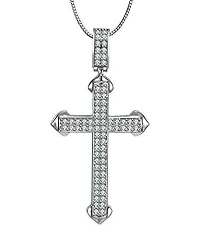 AMDXD Jewelry Sterling Silver Women Pendant Necklace Cross Cubic Zirconia
