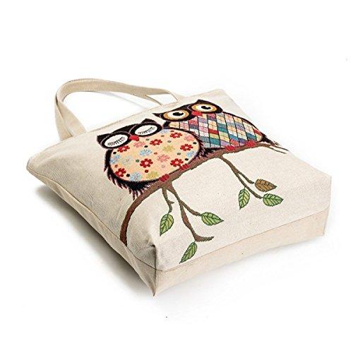 FZHLY Casual Canvas Shoulder Bag Signore Gufo Sveglio Borsa A Tracolla,600b 600a